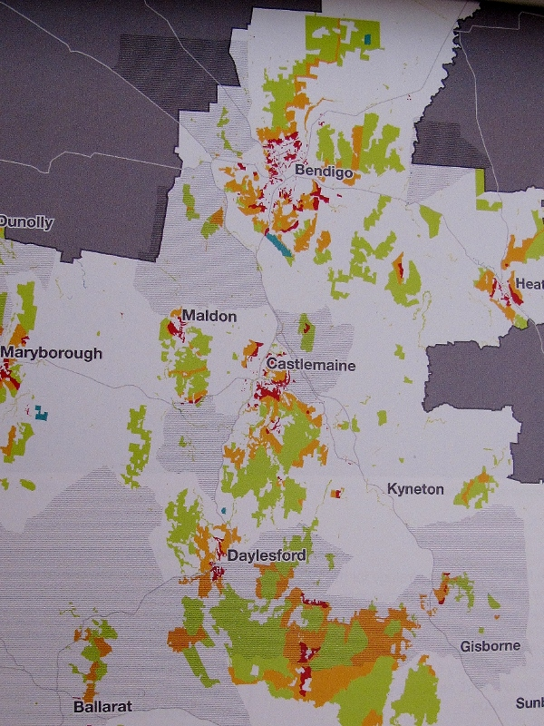 Fuel management map: the grey areas are 'priority fuel management areas. In our area they're north and west of Castlemaine, Maldon and the Midland Highway. 40% of planned burning on public land will be in these areas...which are mostly private land.