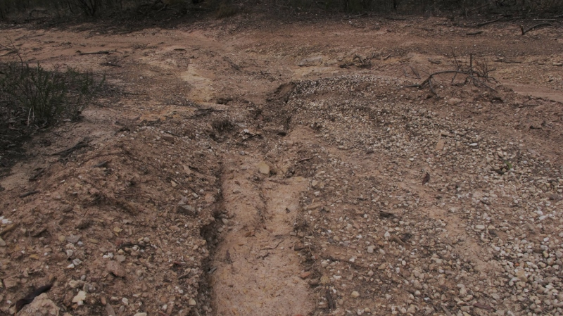 Erosion in new track work, Kalimna Park: it's impossible to find out exactly what directions are given to dozer drivers.