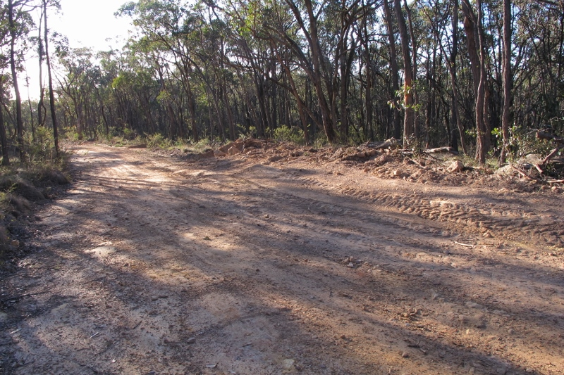 Fryers Ridge Road, near the Irishtown Track: in places the road is twice as wide as the Midland Highway