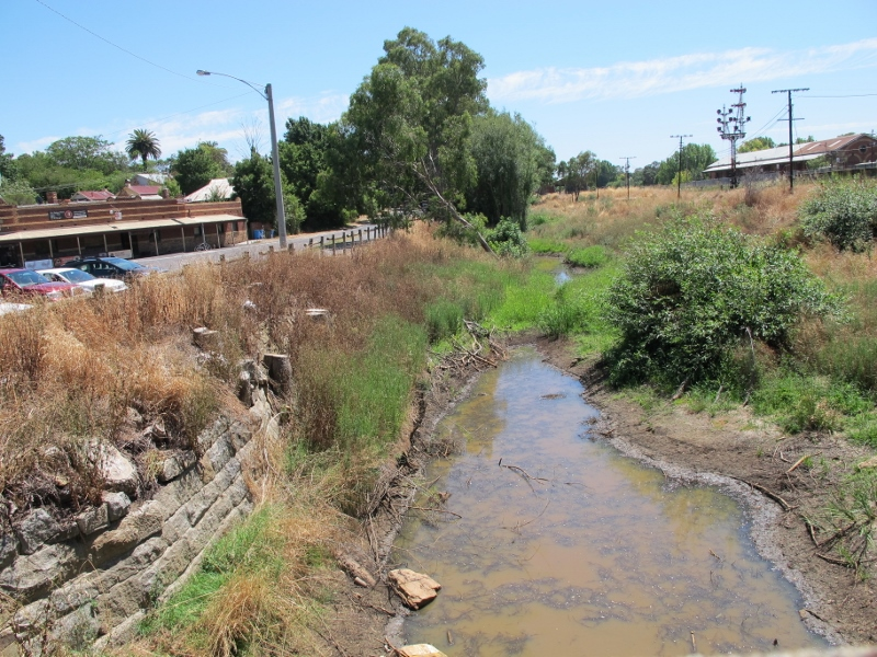 Barkers Creek, January 2014: Even when it's justified, creek clearance can cause public angst. There's no evidence that clearance of native vegetation does anything to reduce flood levels.