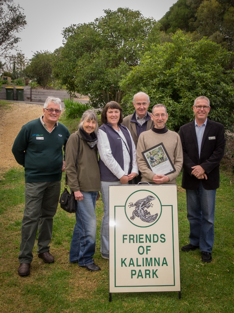 Friends of Kalimna members Polly Woods, Robyn Lewis, Bernard Slattery and Geoff Hannon, flanked by Park Ranger Noel Muller [left]and Regional manager Craig Stubbings [right]