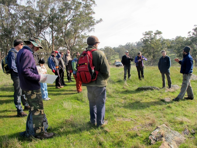 Ian Garsed [right] talks to walkers about management of the Muckleford Gorge.