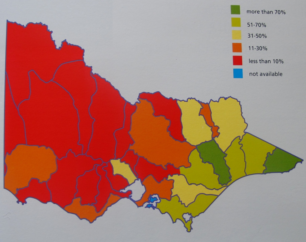 Percentage of stream length in good or excellent condition, 2013: Victoria's waterways are not in great shape, and seem to have deteriorated since the 2004 White Paper.